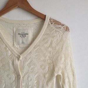 Abercrombie & Fitch Cream Lace Cardigan Size M